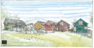 concept rendering of a grouping of new homes -The Neighborhood's Edge project