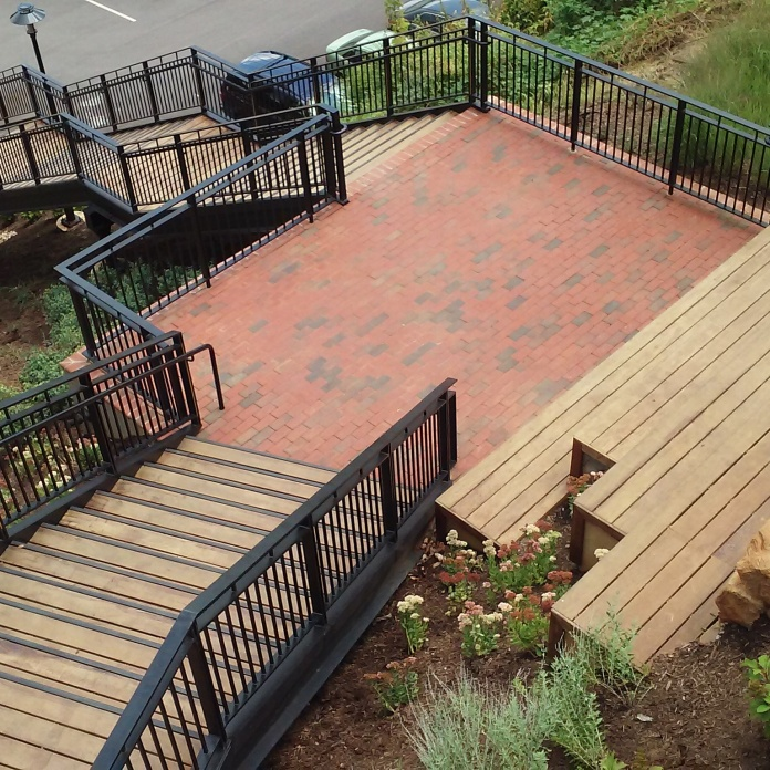 the stair landing widens out to become a small amphitheater -Lower Bluff Walk project