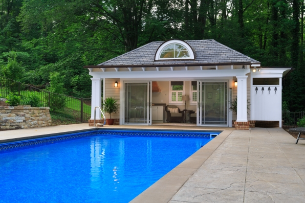 poolhouse at the water's edge