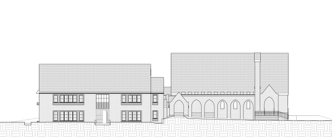 north street elevation--apartments entrance and church portico-The Church Courtyard Apartments project