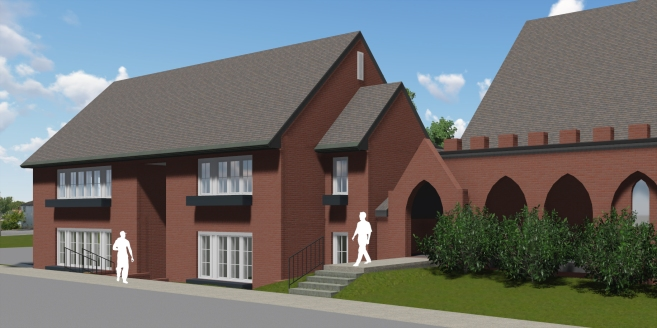 street view from the northwest-The Church Courtyard Apartments project