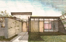 residence front door and walled garden