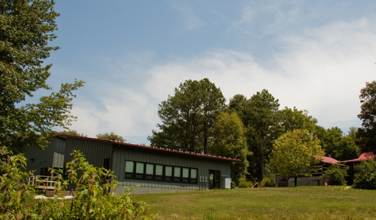 view of the classroom wing from the field