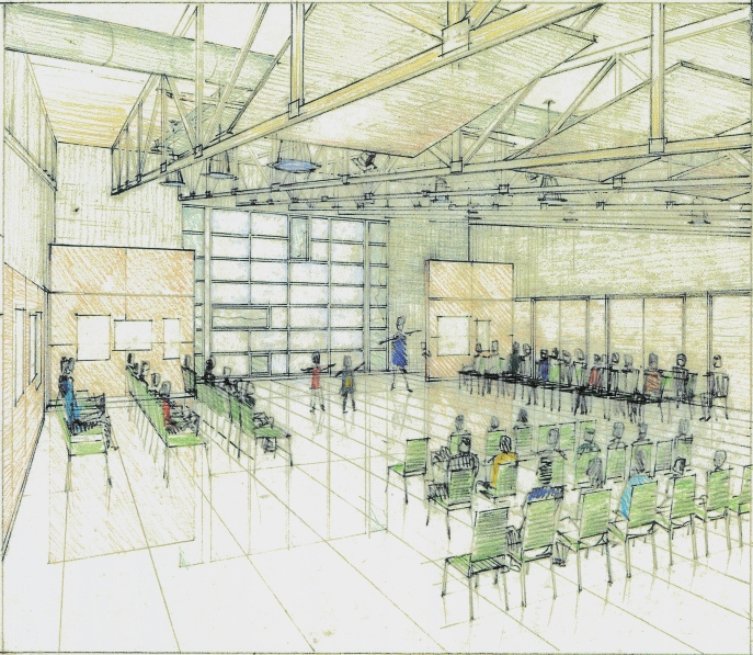 perspective of the community hall-Fine Arts Building project