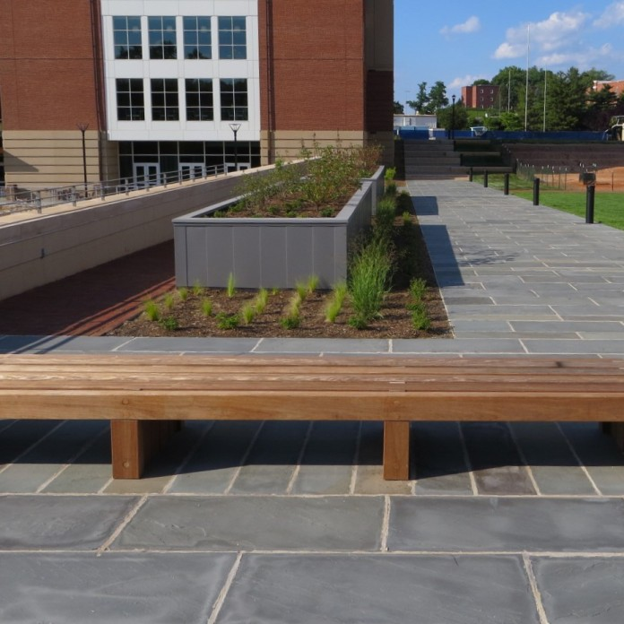 timber bench and rooftop planter along stone pathway-Campus Lake landscape
